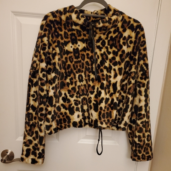 love + joy Sweaters - Jr Fleece leopard print